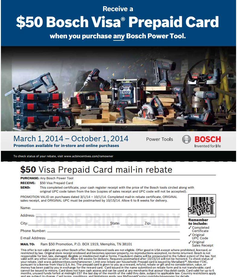 Bosch Rebate August 2014