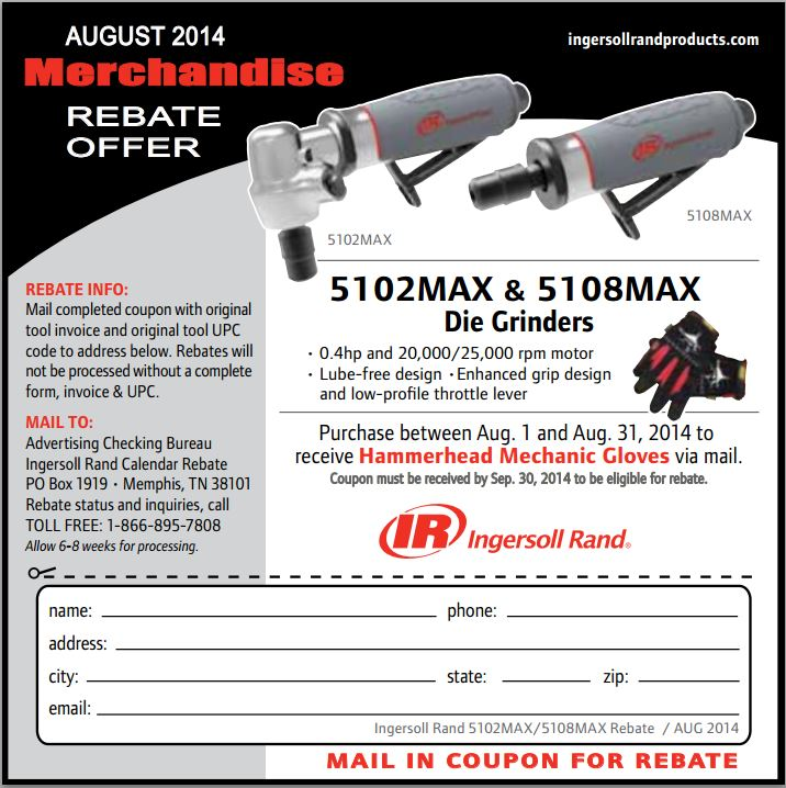 Ingersoll Rand August Rebate Promotion